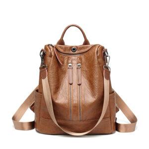 PU leather anti-thief backpacks