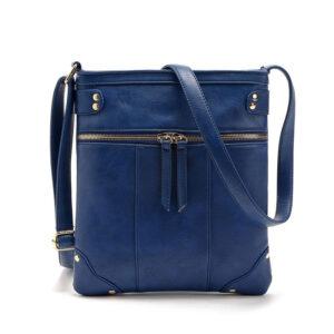 Double Zipper Women Messenger Bag